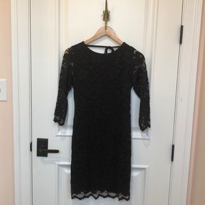 Black lace backless mini dress